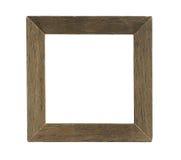 Eenvoudig Vierkant Houten die Fotokader op witte achtergrond wordt geïsoleerd Stock Foto