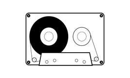Eenvoudig vlak audiocassettepictogram stock foto
