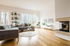 Eenvoudig woonkamerbinnenland stock foto