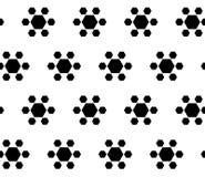 Eenvoudig zwart & wit naadloos patroon, geometrische bloemen Stock Afbeelding