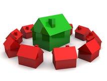 Eenvoudige 3d huizen Royalty-vrije Stock Afbeeldingen