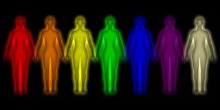 Eenvoudige achtergrond met gekleurd menselijk energielichaam Royalty-vrije Stock Foto's
