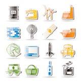 Eenvoudige Bedrijfs en de industriepictogrammen Stock Foto