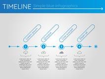Eenvoudige blauwe chronologie 5, infographics Royalty-vrije Stock Fotografie