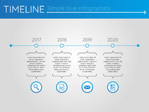 Eenvoudige blauwe chronologie 2, infographics Stock Afbeelding