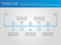 Eenvoudige blauwe chronologie 7, infographics Royalty-vrije Stock Foto