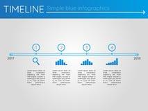 Eenvoudige blauwe chronologie 6, infographics Royalty-vrije Stock Afbeeldingen