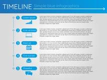 Eenvoudige blauwe chronologie 11, infographics Royalty-vrije Stock Fotografie