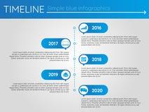 Eenvoudige blauwe chronologie 12, infographics Stock Foto's