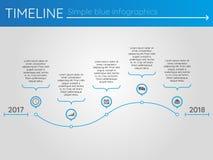 Eenvoudige blauwe chronologie 19, infographics Stock Afbeeldingen