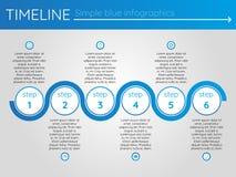 Eenvoudige blauwe chronologie 15, infographics Stock Fotografie