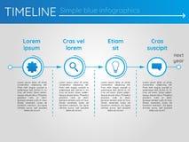 Eenvoudige blauwe chronologie 20, infographics Royalty-vrije Stock Afbeeldingen