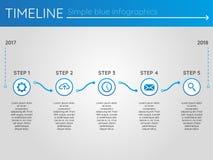 Eenvoudige blauwe chronologie 16, infographics Royalty-vrije Stock Foto