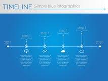 Eenvoudige blauwe chronologie 23, infographics Royalty-vrije Stock Fotografie