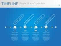 Eenvoudige blauwe chronologie 25, infographics Stock Foto