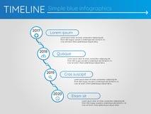 Eenvoudige blauwe chronologie 17, infographics Stock Fotografie