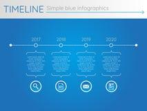 Eenvoudige blauwe chronologie 22, infographics Stock Fotografie