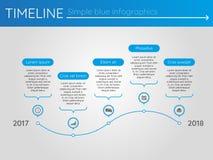 Eenvoudige blauwe chronologie 19, infographics Royalty-vrije Stock Afbeeldingen