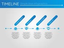 Eenvoudige blauwe chronologie 4, infographicsvector Stock Foto