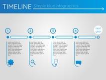 Eenvoudige blauwe chronologie 14, infographicsvector Royalty-vrije Stock Foto's