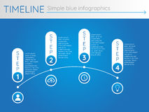Eenvoudige blauwe chronologie 30, infographicsvector Stock Foto