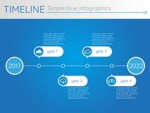 Eenvoudige blauwe chronologie 21, infographicsvector Stock Afbeelding