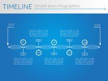 Eenvoudige blauwe chronologie 27, infographicsvector Royalty-vrije Stock Foto