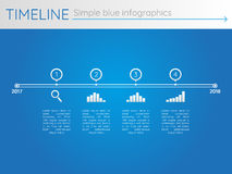 Eenvoudige blauwe chronologie 26, infographicsvector Stock Afbeeldingen