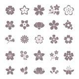 Eenvoudige bloem, bloemen grafische vector geplaatste pictogrammen vector illustratie