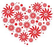 Eenvoudige bloemen in hartvorm vector illustratie