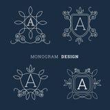 Eenvoudige bloemen van de de kunststijl van de monogramlijn het embleem vectorillustratie Royalty-vrije Stock Afbeeldingen
