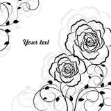 Eenvoudige bloemenachtergrond in geïsoleerde zwarte stock illustratie