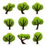 Eenvoudige boompictogrammen Stock Afbeelding