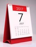 Eenvoudige bureaukalender 2017 - Juli Royalty-vrije Stock Afbeeldingen
