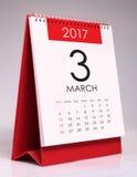 Eenvoudige bureaukalender 2017 - Maart Stock Afbeelding