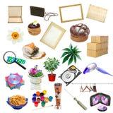 Eenvoudige collage van geïsoleerde voorwerpen Stock Afbeeldingen