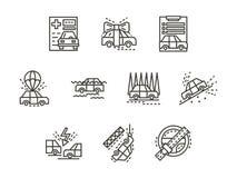 Eenvoudige de gevallenpictogrammen van de lijnverzekering Royalty-vrije Stock Foto's