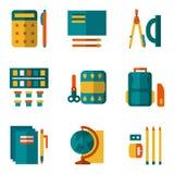 Eenvoudige die kleurenpictogrammen voor schoollevering worden geplaatst Stock Afbeeldingen