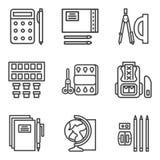 Eenvoudige die lijnpictogrammen voor school worden geplaatst Stock Fotografie