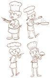 Eenvoudige duidelijke schetsen van de chef-koks Stock Foto