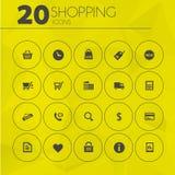 Eenvoudige dunne het winkelen pictogrammeninzameling Stock Fotografie
