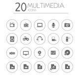 Eenvoudige dunne pictogrammeninzameling van verschillende media op wit Stock Foto's