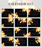 Eenvoudige en elegante kalender voor 2017 stock illustratie