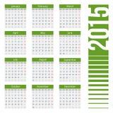 Eenvoudige Europese het jaar vectorkalender van 2015 Royalty-vrije Stock Afbeelding