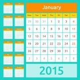 Eenvoudige Europese het jaar vectorkalender van 2015 Stock Afbeeldingen