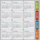 Eenvoudige Europese het jaar vectorkalender van 2015 Royalty-vrije Stock Fotografie