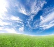 Eenvoudige gebogen blauwe en groene horizonachtergrond Royalty-vrije Stock Foto's