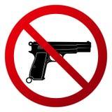 Eenvoudige ` Geen vuurwapens toegestaan ` Rood gradiëntteken, zwart silhouet stock illustratie