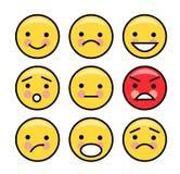 Eenvoudige gele emoticons stock illustratie
