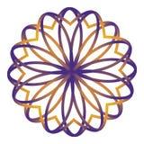Eenvoudige gele en violette bloesem vectormandala vector illustratie